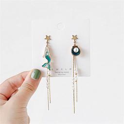 美人魚耳環 珍珠美人魚耳環 耳針 耳夾式耳環 S925銀針 不對稱耳環 耳環