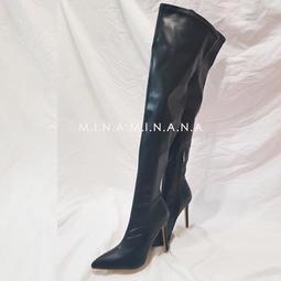 秋冬性感新款大尺碼高跟尖頭過膝靴皮靴細跟長靴 #S2932# 預購  MINA.N