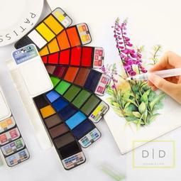 玩心 便攜固體水彩盤  18/25/33/42色  水彩套裝 可選塊狀水彩 顏料_繪畫 美術 畫畫用具 水彩筆 水彩