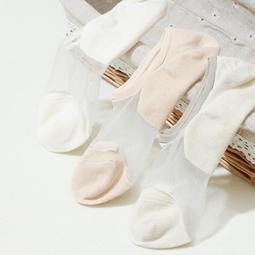 女船襪 3雙 玻璃絲網襪夏季防滑硅膠純棉船襪隱形襪淺口薄款水晶絲短襪子【】