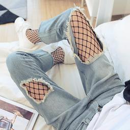 *漁網襪夏季鏤空女士性感破洞防勾絲襪網眼連褲襪春夏薄款網格絲襪