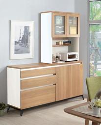 【風禾家具】HJS-715-1@北美橡木色5.6尺L型餐櫃【台中18900送到家】收納櫥櫃 碗盤櫃 低甲醛E1系統板傢俱