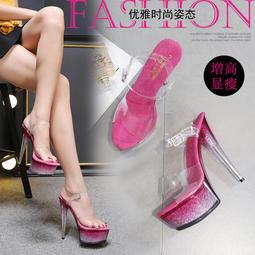 夏季推薦款時尚性感漸變閃粉水晶鞋15cm厚底水晶超細大碼高跟涼鞋女