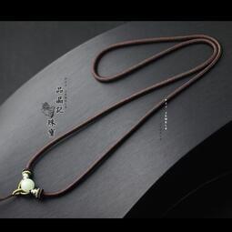 玉墜掛繩 佛牌掛繩 簡約手工翡翠吊墜繩蜜蠟黑曜石掛繩男女款項鏈繩套頭掛件繩
