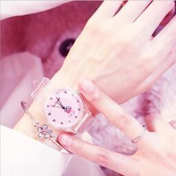 電子手錶 日系小清新簡約手繪手表 少女心軟妹草莓透明手表 動漫周邊手表