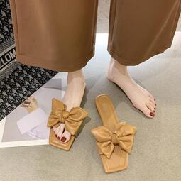 網紅外穿時尚方頭蝴蝶結一字拖女2020年夏季新款學生百搭粗跟涼鞋