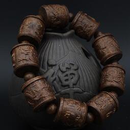 【特惠】開光文玩沉香木黑檀木雕刻龍珠珠佛珠手串送禮串珠配飾手鏈男女款-  露天拍賣