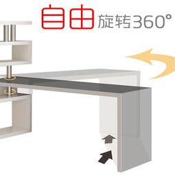 熱銷全新旋轉電腦桌帶書櫃簡約現代辦公桌家用轉角書桌書架組合一體寫字桌
